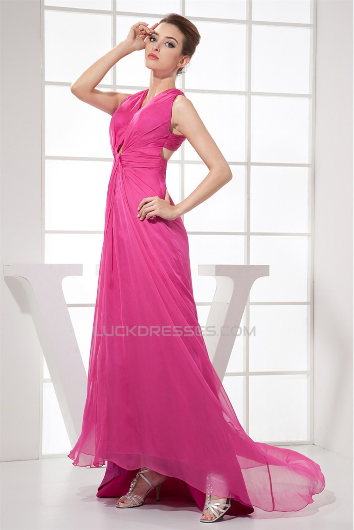Sheath/Column Sleeveless Pleats Chiffon Silk like Satin Mother of the Bride Dresses 2040075