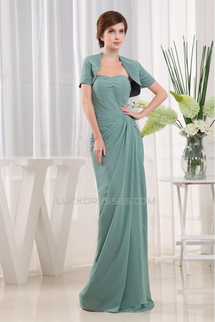 Sheath/Column Short Sleeve Floor-Length Beading Mother of the Bride Dresses 2040079
