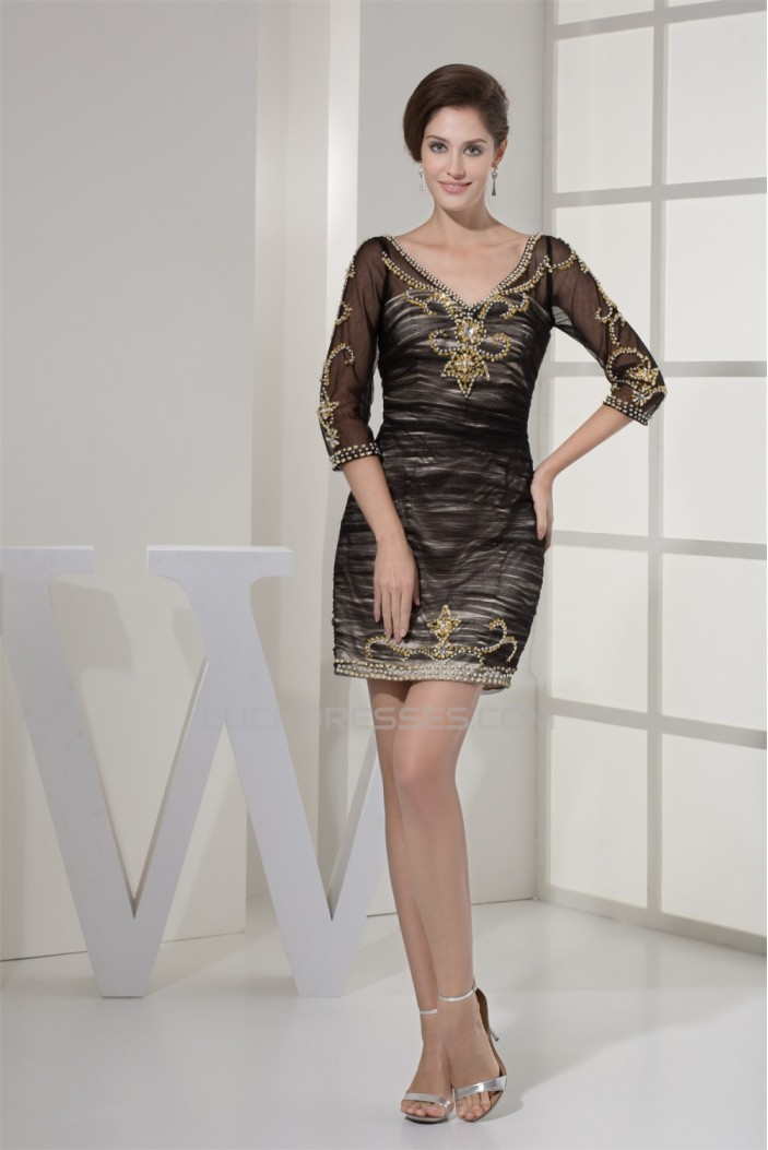 Short/Mini Satin Fine Netting Sheath/Column Mother of the Bride Dresses 2040082