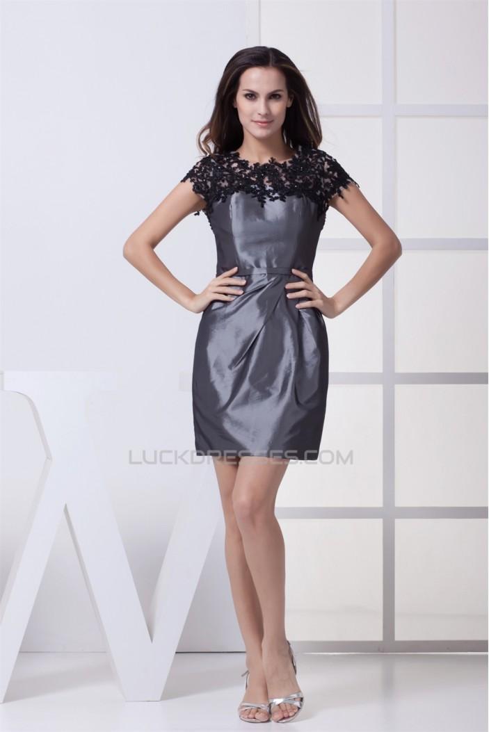 Short/Mini Taffeta Appliques Short Scoop Mother of the Bride Dresses 2040083