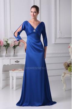Silk like Satin Satin Chiffon V-Neck 3/4 Sleeve Long Blue Mother of the Bride Dresses 2040085