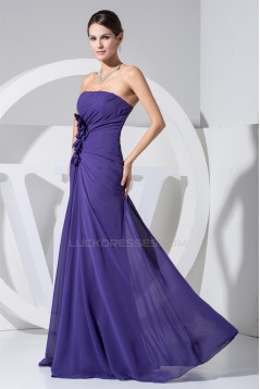 A-Line Strapless Sleeveless Ruffles Chiffon Mother of the Bride Dresses 2040095