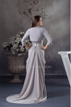 Sheath/Column Sweetheart Chiffon Puddle Train Long Mother of the Bride Dresses with A Jacket 2040096