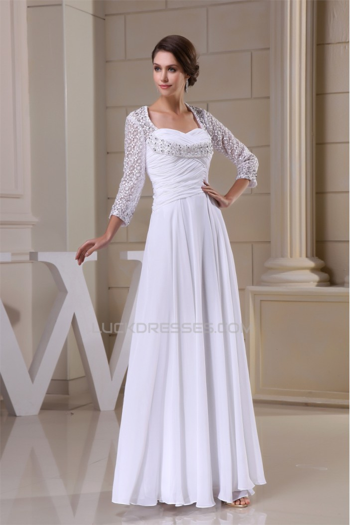 A-Line Sweetheart Chiffon Lace 3/4 Sleeve Most Beautiful Mother of the Bride Dresses 2040099