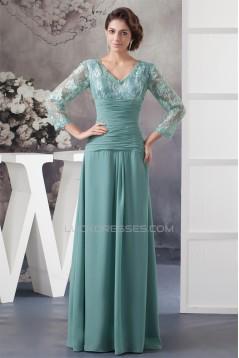 Sheath/Column 3/4 Sleeve Floor-Length Chiffon Lace Mother of the Bride Dresses 2040104