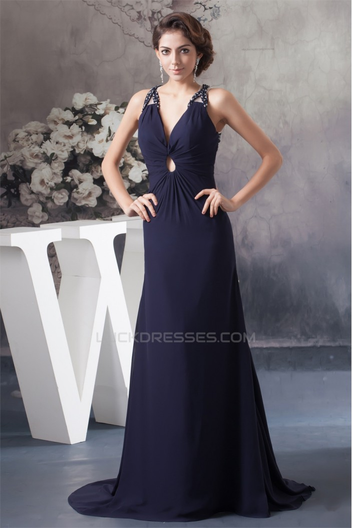 A-Line Sleeveless Beading Chiffon V-Neck Mother of the Bride Dresses 2040107