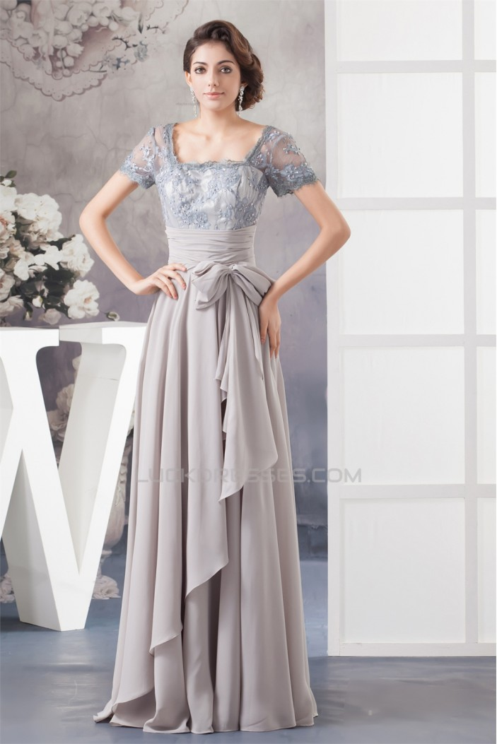 A-Line Square Beading Chiffon Lace Floor-Length Mother of the Bride Dresses 2040108