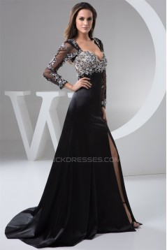 A-Line Beading Elastic Woven Satin Tulle Mother of the Bride Dresses 2040110