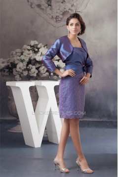 Beading Taffeta Lace Knee-Length Strapless Mother of the Bride Dresses with A 3/4 Sleeve Jacket 2040114