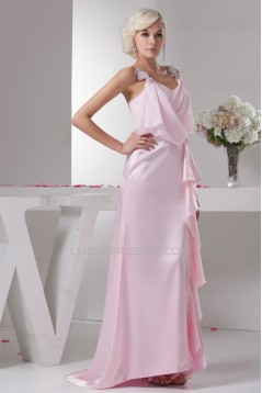 Brush Sweep Train Beading Sheath/Column Long Pink Mother of the Bride Dresses 2040115
