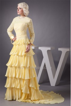 Chiffon Lace Elastic Woven Satin Bateau Mother of the Bride Dresses 2040116