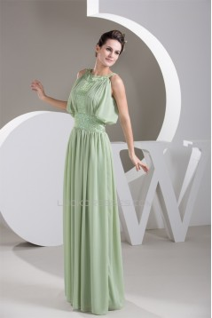 A-Line Chiffon Scoop Floor-Length Draped Mother of the Bride Dresses 2040117