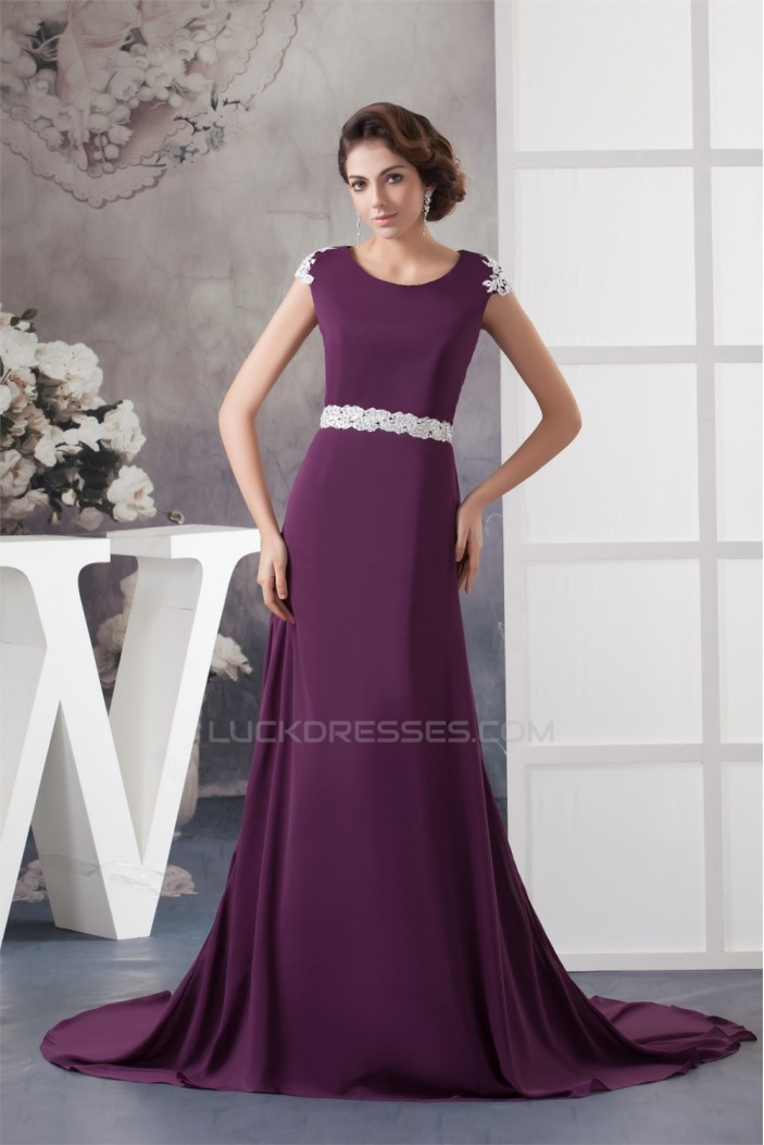 A-Line Beading Scoop Brush Sweep Train Lace Chiffon Mother of the Bride Dresses 2040118