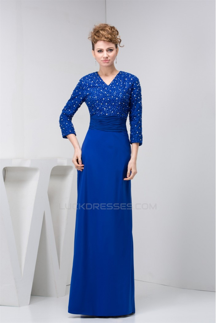 Sheath/Column Chiffon Floor-Length Beading Mother of the Bride Dresses 2040119