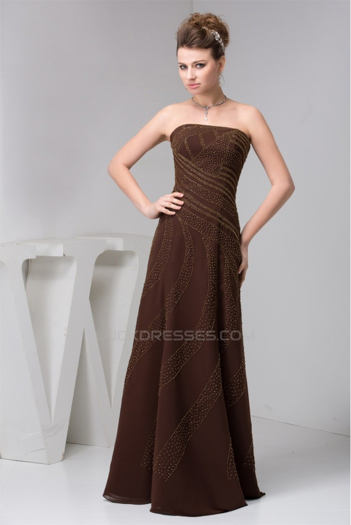 A-Line Strapless Long Chiffon Sleeveless Evening Mother of the Bride Dresses 2040122