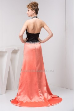 A-Line Halter Beading Satin Chiffon Sleeveless Mother of the Bride Dresses 2040130