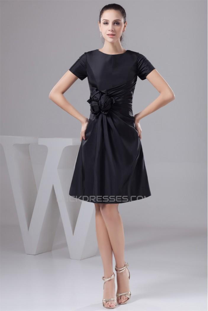 A-Line Handmade Flowers Knee-Length Scoop Short Black Mother of the Bride Dresses 2040131