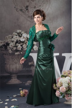 Sheath/Column Handmade Flowers Mother of the Bride Dresses with A Long Sleeves Lace Jacket 2040133