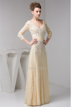 A-Line 3/4 Sleeves Lace Chiffon Beaded Applique Long Mother of the Bride Dresses 2040134