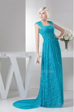 Sheath/Column Brush Sweep Train Cap Sleeve Long Blue Lace Mother of the Bride Dresses 2040141