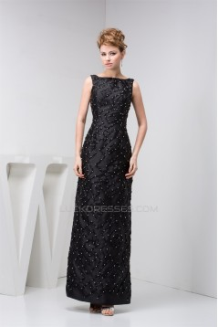 Sheath/Column Ankle-Length Beading Bateau Long Black Mother of the Bride Dresses 2040144