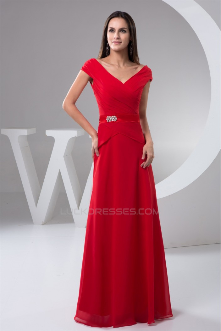A-Line Off-the-Shoulder Beading Floor-Length Chiffon Mother of the Bride Dresses 2040145