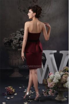 Short/Mini Satin Sheath/Column Sleeveless Beaded Mother of the Bride Dresses 2040151