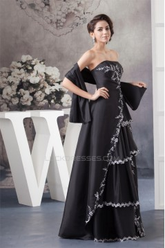 A-Line Beading Applique Strapless Long Black Mother of the Bride Dresses with A Wrap 2040154
