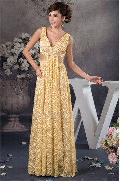 Sleeveless Floor-Length V-Neck Lace Mother of the Bride Dresses 2040155