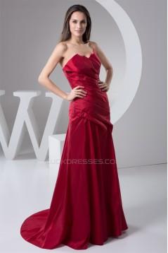 Sleeveless Sweetheart Pleats Taffeta Brush Sweep Train Mother of the Bride Dresses 2040156
