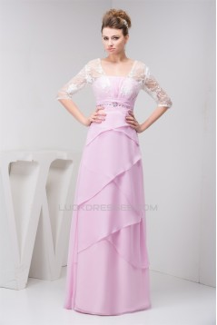 Sheath/Column Strapless Floor-Length Chiffon Lace Mother of the Bride Dresses 2040158