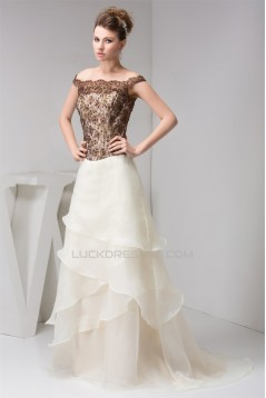 A-Line Off-the-Shoulder Straps Lace Organza Sleeveless Mother of the Bride Dresses 2040159