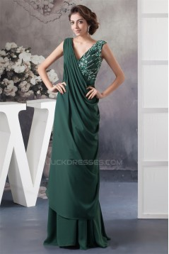 Sheath/Column V-Neck Ruffles Sleeveless Mother of the Bride Dresses 2040160
