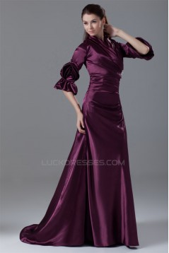 3/4 Length Beading Brush Sweep Train Elastic Woven Satin Prom/Formal Evening Dresses 2040161