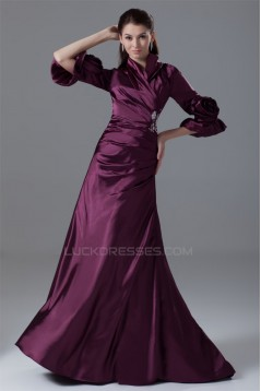 3/4 Length Beading Brush Sweep Train Elastic Woven Satin Prom/Formal Evening Dresses 2040161
