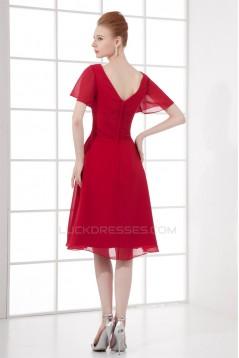 A-Line Pleats Short Knee-Length V-Neck Chiffon Mother of the Bride Dresses 2040163