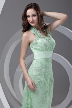 Ankle-Length Satin Lace Appliques Sleeveless Halter Mother of the Bride Dresses 2040165