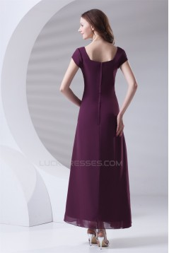 A-Line Beading Ankle-Length Short Sleeve Square Mother of the Bride Dresses 2040167