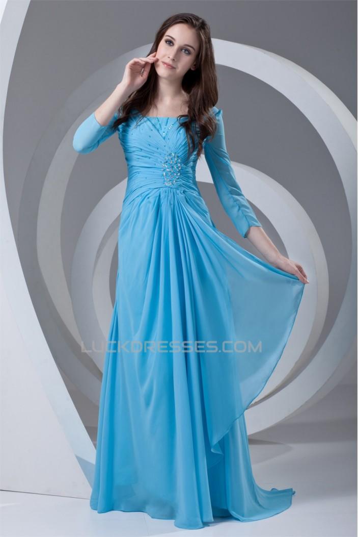 Sheath/Column 3/4 Sleeve Beaded Chiffon Square Mother of the Bride Dresses 2040173
