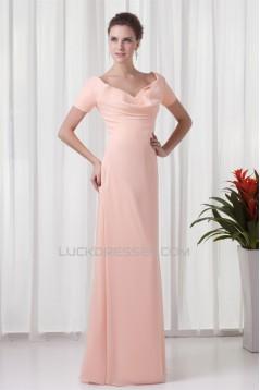 Sheath/Coulmn Short Sleeve Chiffon Ruffles Mother of the Bride Dresses 2040174