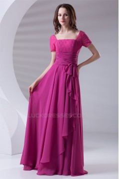 A-Line Short Sleeve Chiffon Lace Satin Mother of the Bride Dresses 2040176