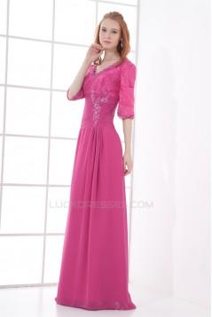 Sheath/Column Lace Chiffon V-Neck Half Elbow Length Prom/Formal Evening Dresses 2040180
