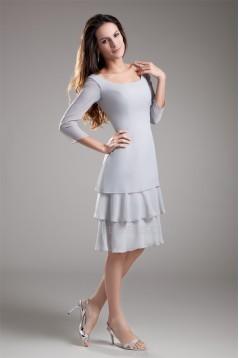 Knee-Length Chiffon 3/4 Sleeve Bateau Mother of the Bride Dresses 2040182
