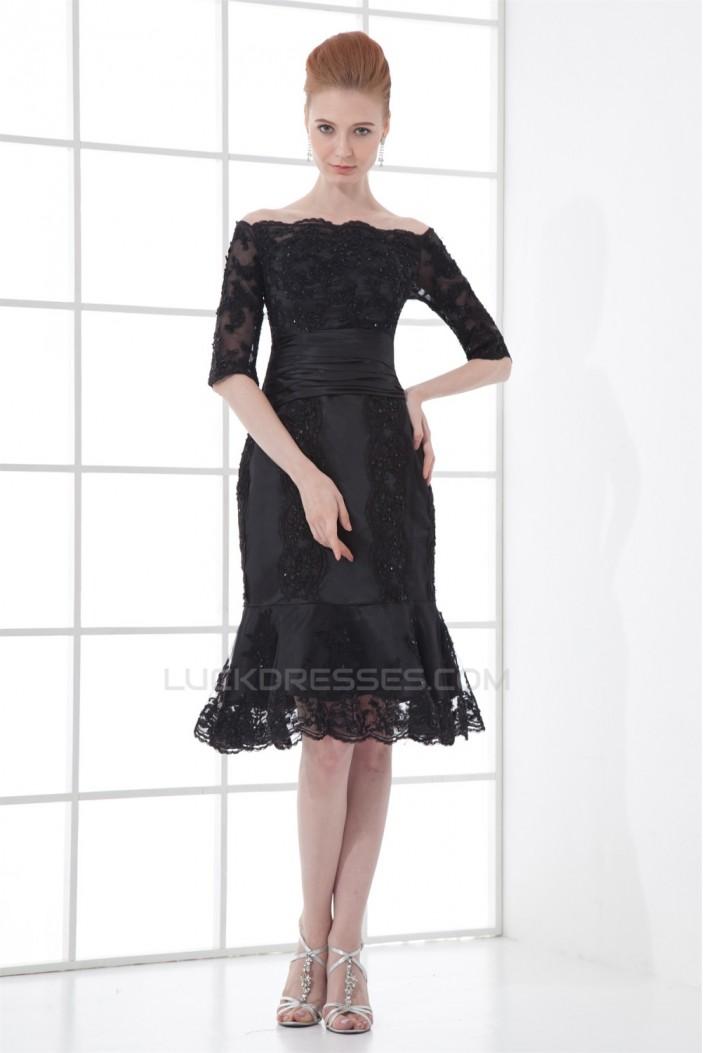 Short Beaded Applique Off-the-Shoulder Half Elbow Mother of the Bride Dresses 2040183