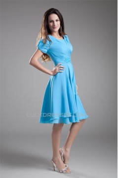 A-Line Short Sleeve Beading Cowl Chiffon Mother of the Bride Dresses 2040186