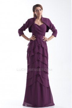 Sheath/Column Straps Chiffon Mother of the Bride Dresses with A 3/4 Sleeve Jacket 2040187