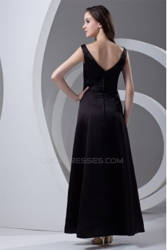 A-Line V-Neck Satin Handmade Flowers Mother of the Bride Dresses 2040188