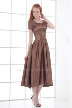 A-Line Short Scoop Elastic Woven Satin Tea Length Mother of the Bride Dresses 2040189