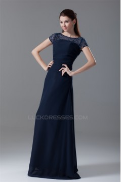 A-Line Short Sleeve Scoop Floor-Length Chiffon Mother of the Bride Dresses 2040190