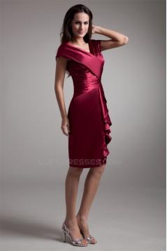 Sheath/Column V-Neck Silk like Satin Short Mother of the Bride Dresses 2040191